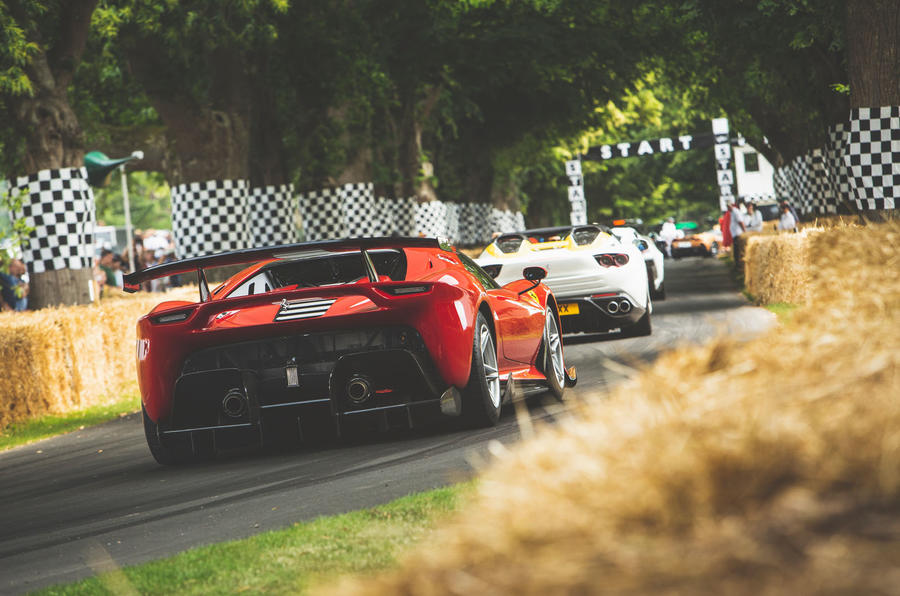 Ferrari heading down the hill