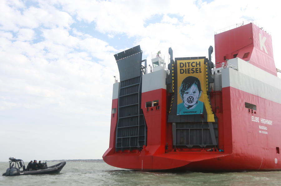 Greenpeace activists board ship carrying thousands of Volkswagen diesel cars