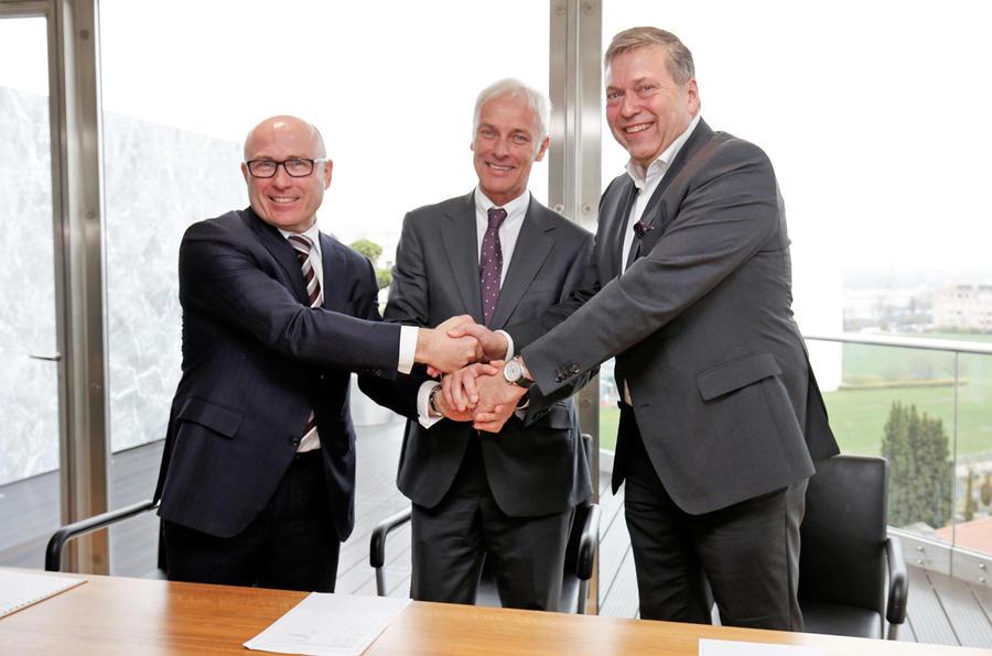 Guenter Butschek, CEO & MD of Tata Motors, Matthias Mueller, CEO of Volkswagen AG and Bernhard Maier, CEO of Skoda Auto
