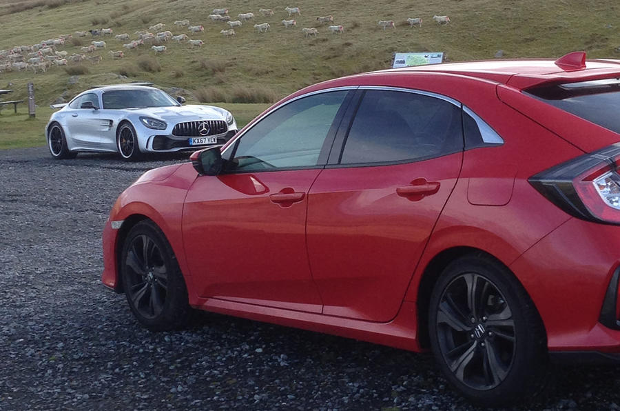 Honda Civic is a decent cruiser but it's no AMG GT