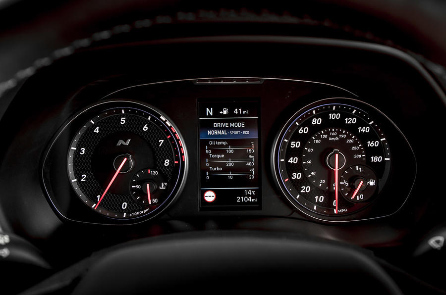Hyundai i30 N 2018 UK review instrument cluster