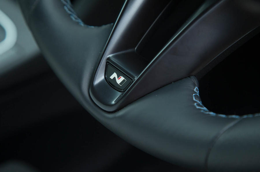 Volkswagen Golf GTI vs Hyundai i30n hyundai steering wheel detail