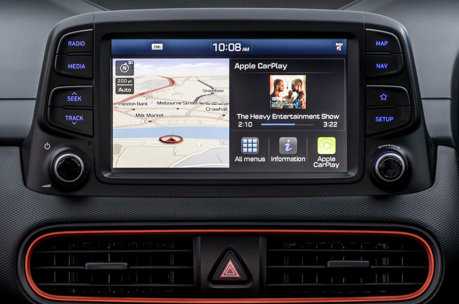 Hyundai Kona infotainment screen maps
