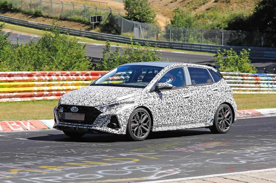 New Hyundai i20 N spyshot side 3/4