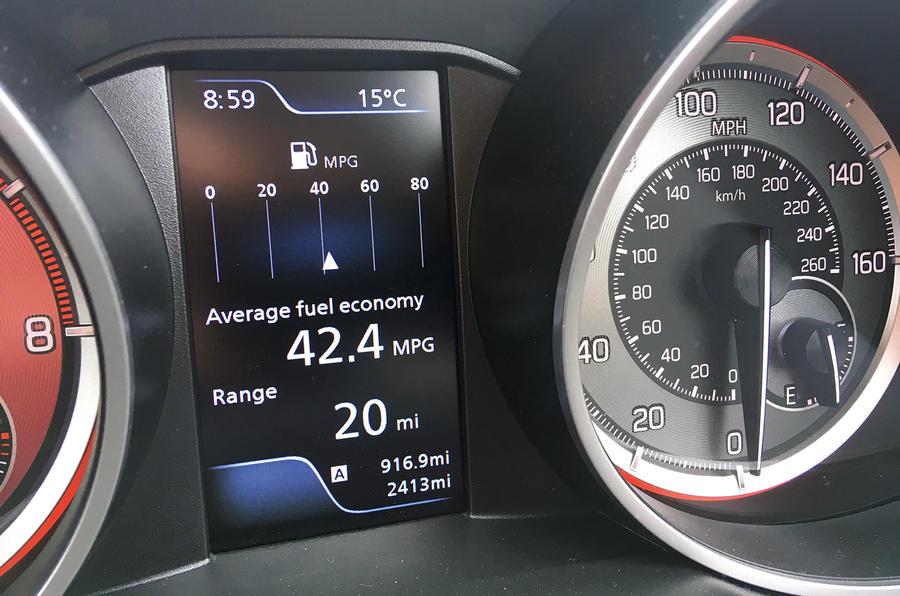 Suzuki Swift Sport 2018 long-term review fuel economy display
