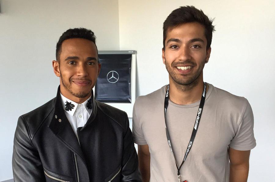 Lewis Hamilton with Sam Sheehan