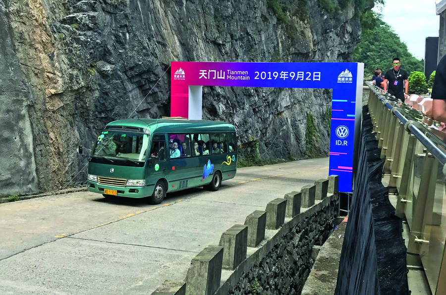 Chinese tourist bus on Big Gate Road