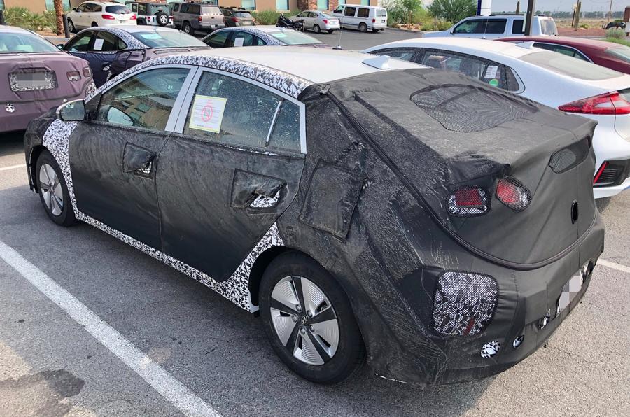 Hyundai Ioniq facelift spyshots side three quarter