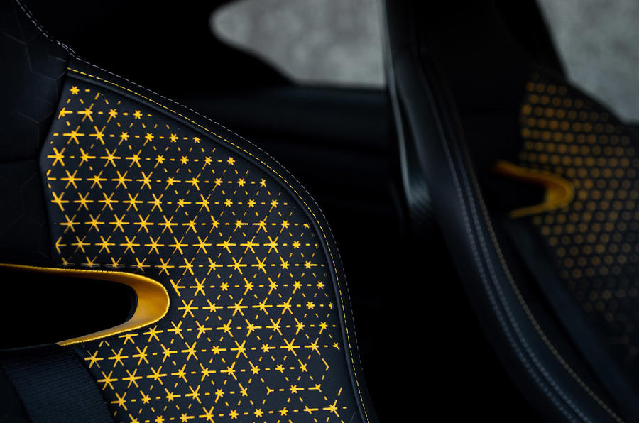 Infiniti Project Black S Paris motor show reveal seat pattern