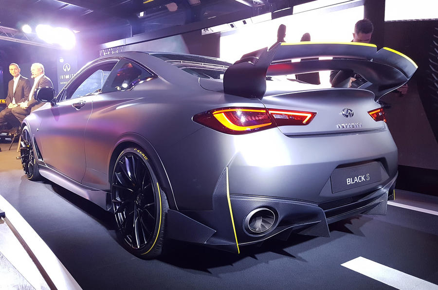 Infiniti Project Black S Paris Motor show reveal stand rear