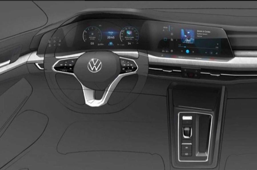 2020 Volkswagen Golf interior design sketch