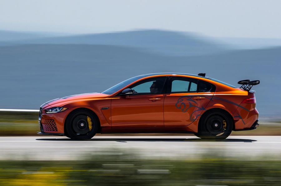 Jaguar XE SV Project 8 2018 review on the road left