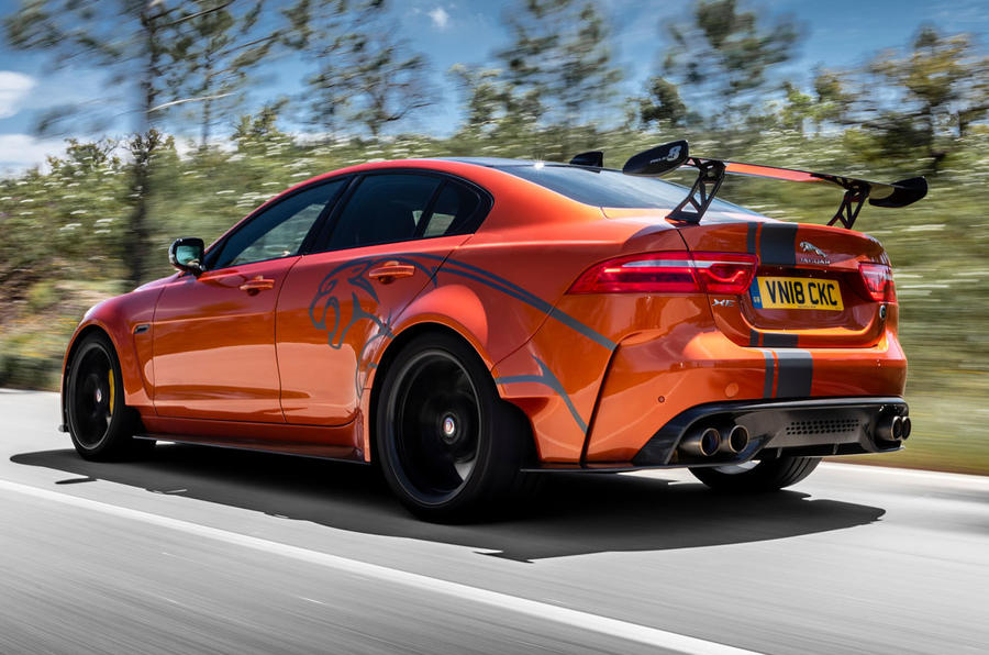 Jaguar XE SV Project 8 2018 review hero rear
