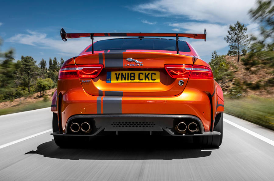 Jaguar XE SV Project 8 2018 review on the road rear
