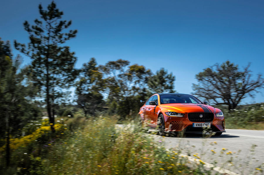 Jaguar XE SV Project 8 2018 review hero action