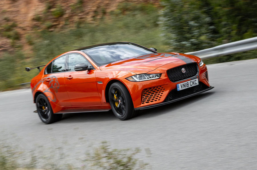 Jaguar XE SV Project 8 2018 review cornering front