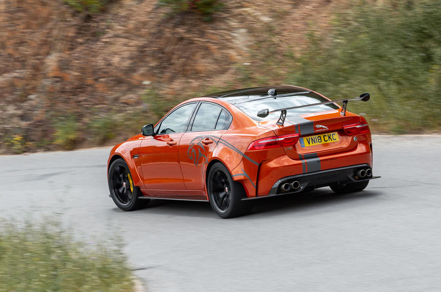 Jaguar XE SV Project 8 2018 review cornering rear