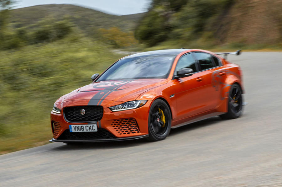 Jaguar XE SV Project 8 2018 review on the road angle