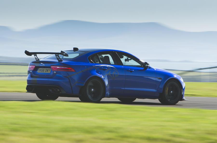Jaguar XE SV Project 8 2018 UK first drive review - hero rear