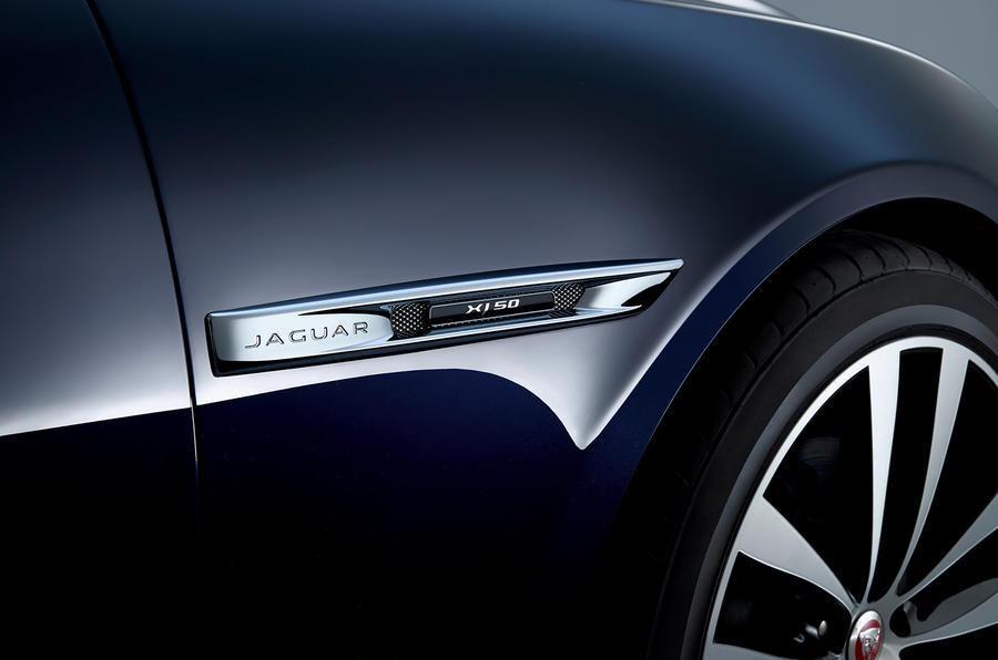 Jaguar XJ50 2018 first drive review - wheel arch logo
