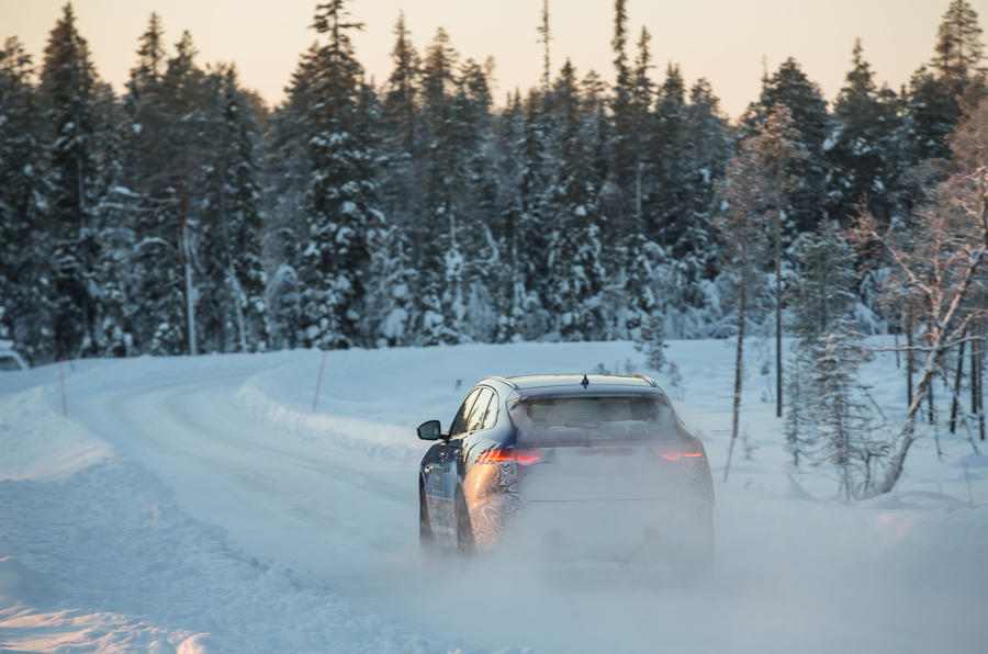 Jaguar F-Pace driving on snow