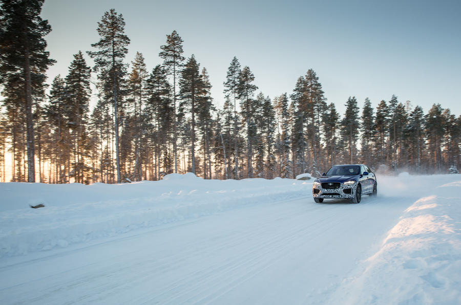 Jaguar F-Pace tackling the snow