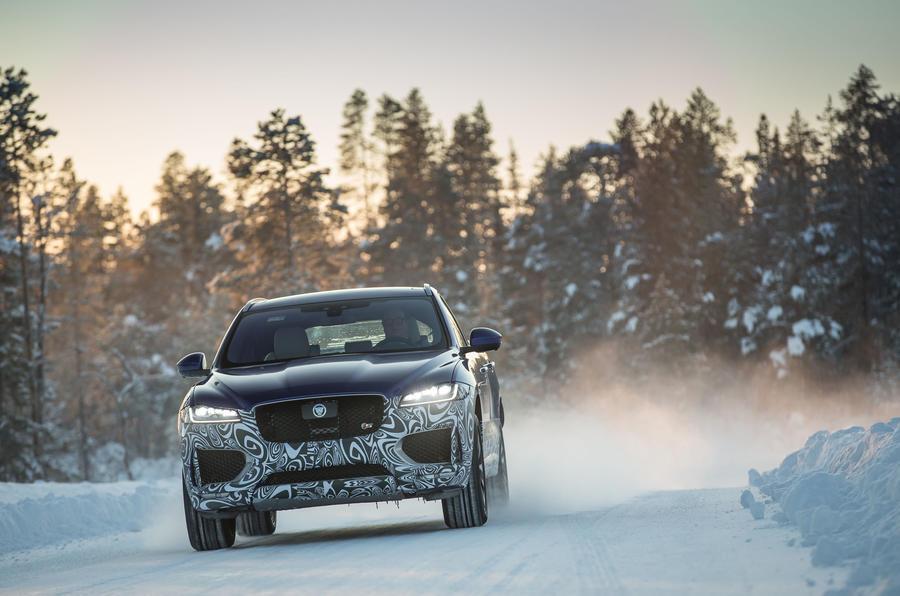 Jaguar F-Pace on smooth snow