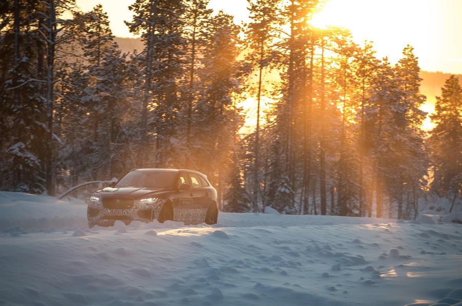 Jaguar F-Pace out on the snow