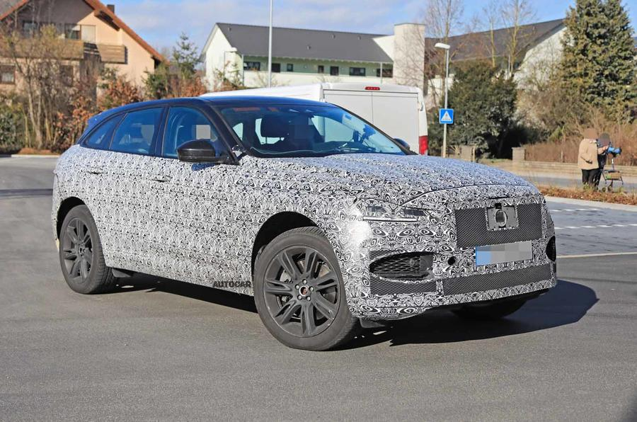 Jaguar F-Pace facelift spies side front