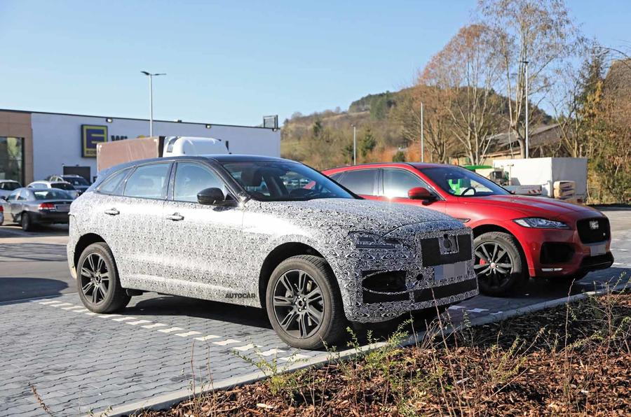 Jaguar F-Pace facelift spies front side next to old car