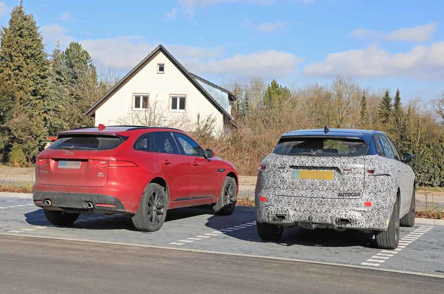 Jaguar F-Pace facelift spies rear next to other car