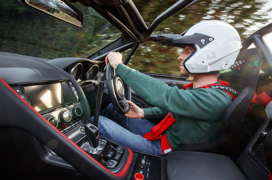 Jaguar F-Type rally car 2019 driven - Dan Prosser driving side