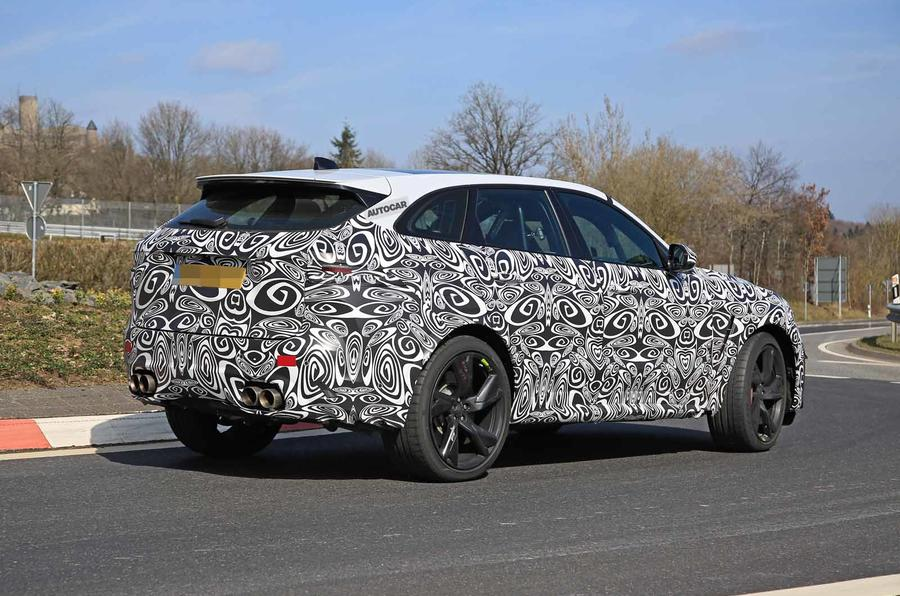 Jaguar F-Pace SVR facelift spyshot - side rear
