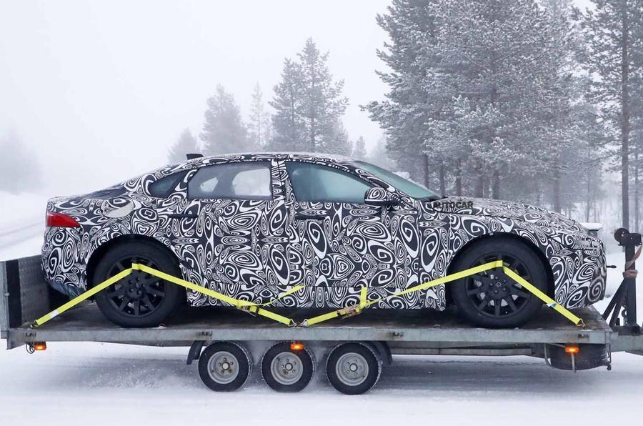 Jaguar XJ test mule side dead on
