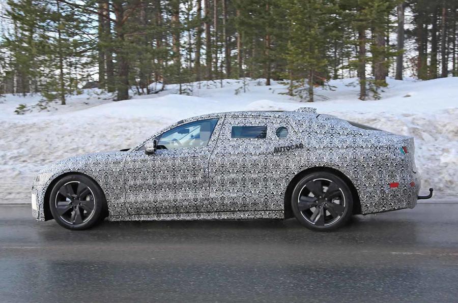Jaguar XJ latest spyshot side rear