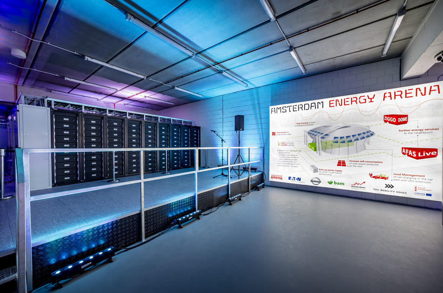 Nissan Leaf batteries power stadium energy storage system in Amsterdam