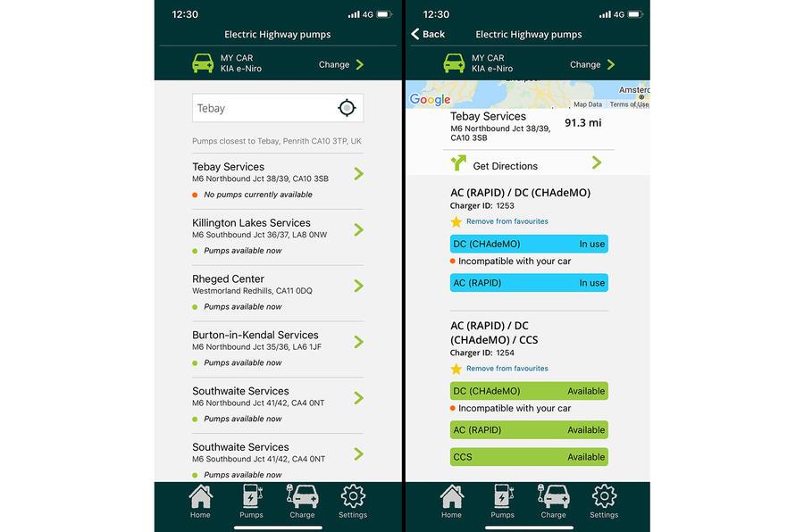 Kia e-Niro to Edinburgh - app