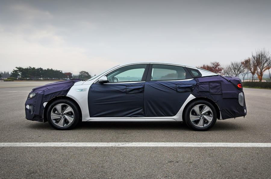 Kia Optima PHEV testing side view