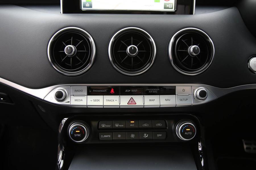 Kia Stinger GT S long-term review front climate control