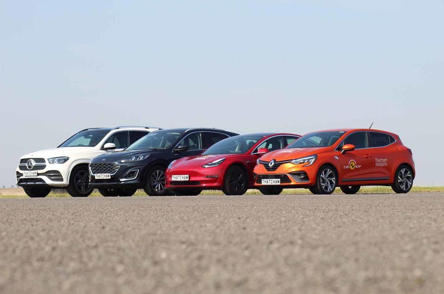 Thatcham ADAS testing car lineup