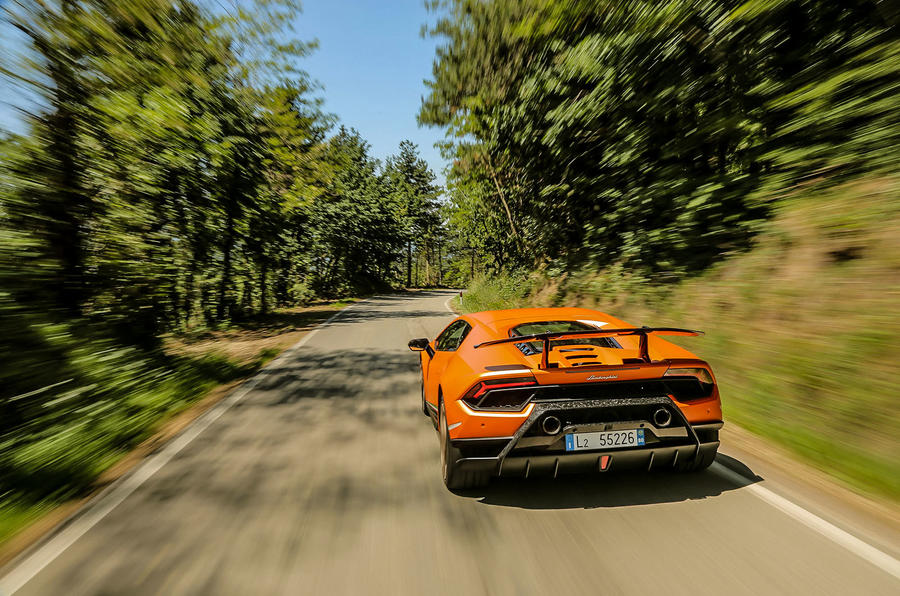 Lamborghini Huracan Performante on a country road