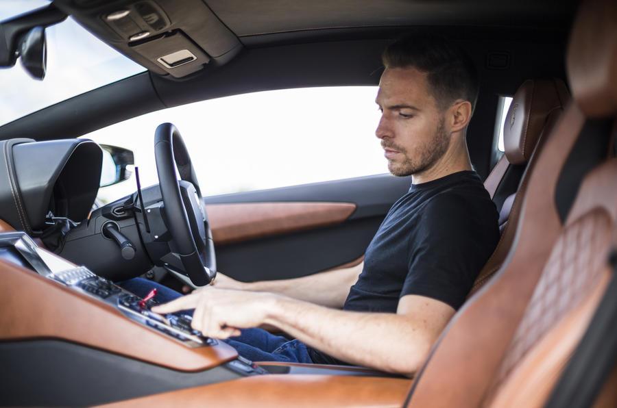 Dan Prosser driving the Lamborghini Aventador S
