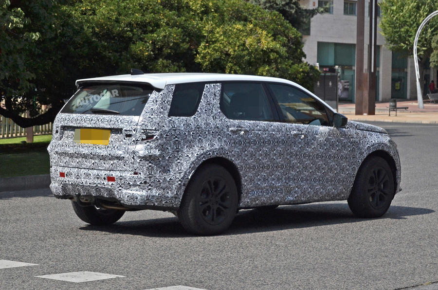 Land Rover Discovery Sport spy shot rear three quarters
