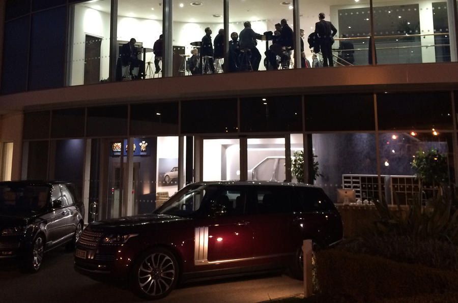 Employees gather at Land Rover