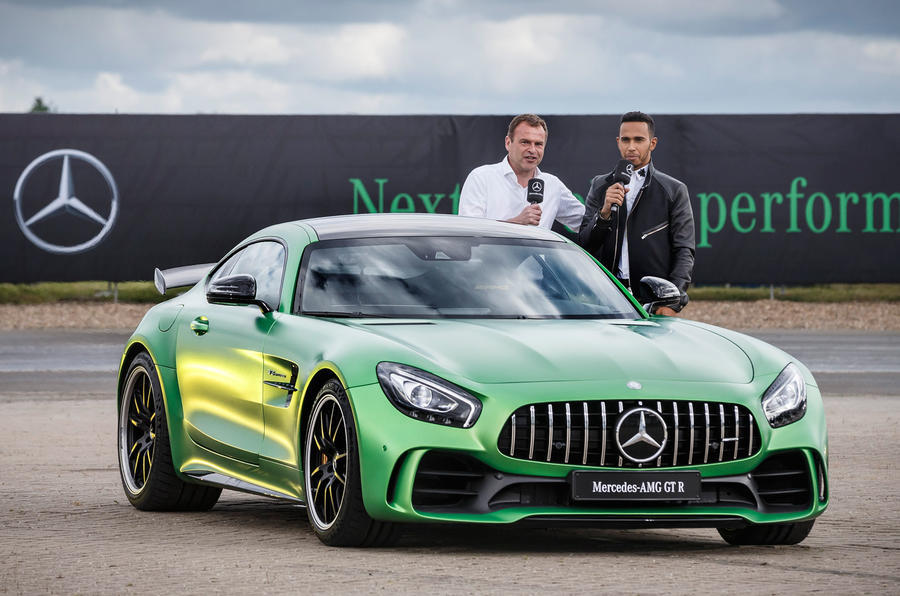 Lewis Hamilton with the AMG GT R