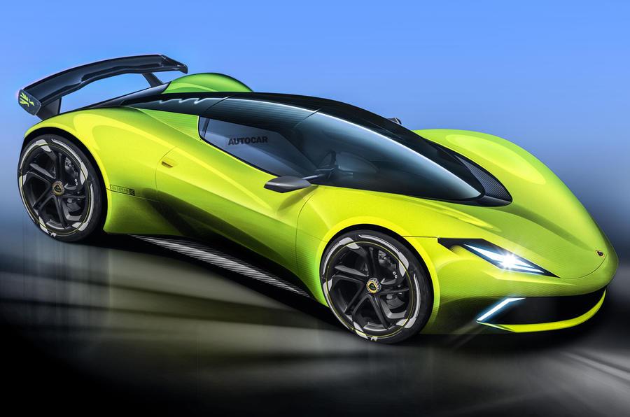 Lotus hypercar render Autocar hero front