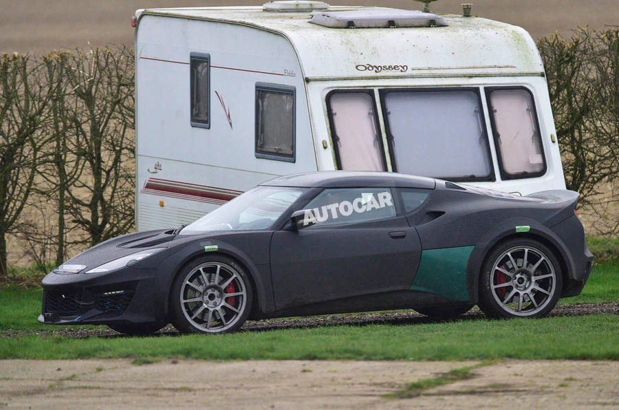 Lotus Esprit mule 2020 spy images - side-on