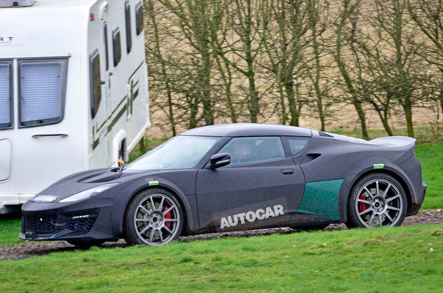 Lotus Esprit mule 2020 spy images - side profile