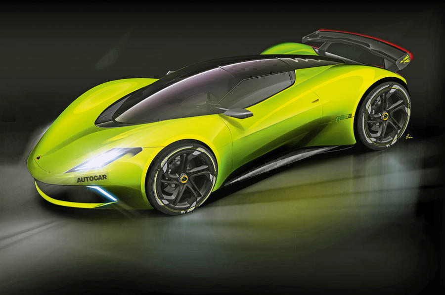 Lotus hypercar render - side