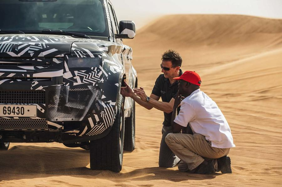Land Rover Defender testing with Red Cross in Dubai
